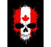 Chaotic Canadian Flag Splatter Skull Photographic Print