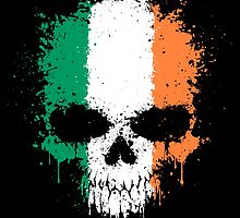 Chaotic Irish Flag Splatter Skull by Jeff Bartels