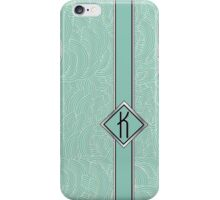 1920s Blue Deco Swing with Monogram letter K iPhone Case/Skin