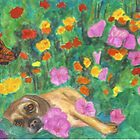 Buddha Dog in the Garden by joga