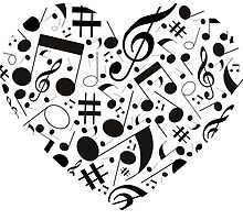 Black and White Music Notes Hearts by HavenDesign