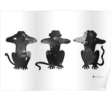 Three monkeys minimalist painting large poster Poster