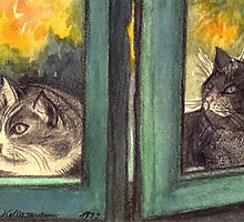 TWO CURIOUS CATS LOOKING OUT OF THE GREEN WINDOW - Watercolour-Design by RubaiDesign