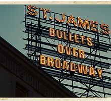 St. James Theater - Bullets Over Broadway Musical Neon Sign - Kodachrome Postcards  by Reinvention