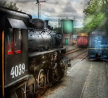 In the train yard by Mike  Savad