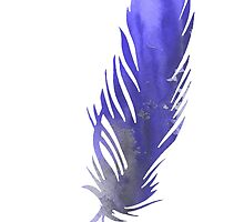 Feather silhouette watercolor art print poster by Joanna Szmerdt