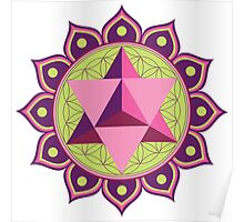 Merkaba with Flower of Life Poster