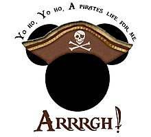 Mickey Pirate Head ~ A pirates life for me Photographic Print