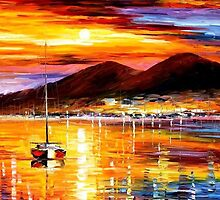Naples, Sunset Above Vesuvius — Buy Now Link - www.etsy.com/listing/224559962 by Leonid  Afremov