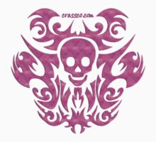 skull tattoo pink by fuxart