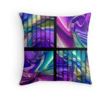 Pink Purple and Teal Color Splash Abstract  Squares Pattern Throw Pillow