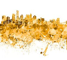 New York skyline in orange watercolor on white background by paulrommer