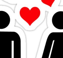 Man Woman red hearts Sticker