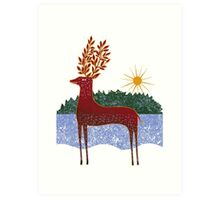Deer in Sunlight Art Print