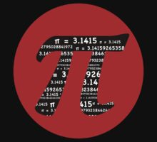 Pi Day graphic in red and black  by Mariannne Campolongo