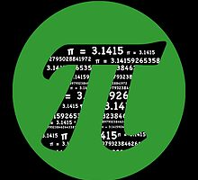 Pi Day graphic in green and black  by Mariannne Campolongo