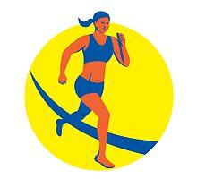 Female Triathlete Marathon Runner Retro by patrimonio