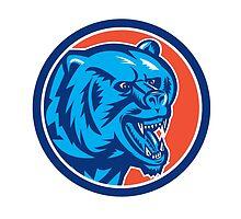 Grizzly Bear Angry Head Circle Retro by patrimonio
