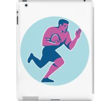 Rugby Player Fend Off Circle Retro iPad Case/Skin