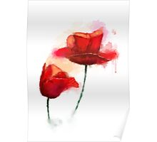 Red Poppy watercolor like painting  Poster