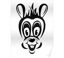 Funny cartoon rabbit silhouette Poster