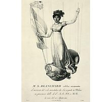 Portrait of French balloonist Sophie Blanchard standing in the decorated basket of her balloon during her flight in Milan, Italy, in 1811 Photographic Print