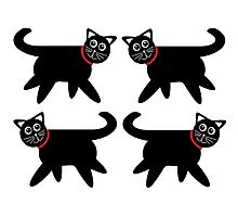 4 Black Cats in Red Collars Photographic Print