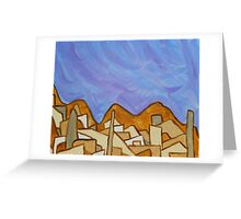 Desert Town with Lavender Sky, Original Acrylic Painting  Greeting Card