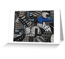 City Perspectives, Aerial Cityscape, Abstract City Painting  Greeting Card