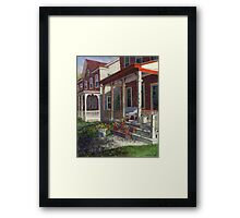 Porch with Pots of Pansies Framed Print