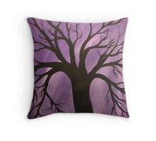 Nocturnal Silhouetted Tree Lavender Purple Sky   Throw Pillow