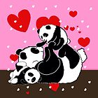 Cute Panda family playing cartoon pink brown gifts by LeahG Artist