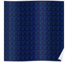 Blue Art Deco Crescents Poster