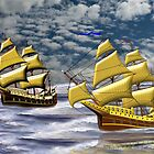 Two Ships of the Line Heading for Battle - all products by Dennis Melling