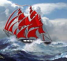 The Clipper Ship Indian Queen in Rough Seas - all products by Dennis Melling