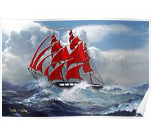 The Clipper Ship Indian Queen in Rough Seas Poster
