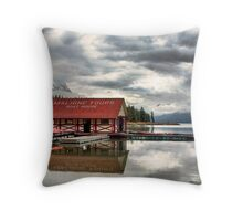 Maligne Lake Boat House Throw Pillow