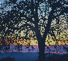 Stained Glass Oak Tree by Laurie Puglia