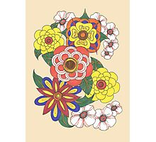 Retro Flowers Photographic Print