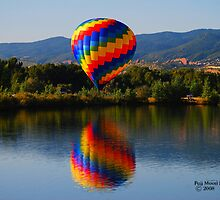 Hot Air Balloon Reflection Over Colorado Reservoir by Cara Fox