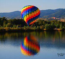 Hot Air Balloon Reflection Over Colorado Reservoir by Cara Fox