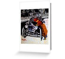 Iya Ojo cranks up her model T-Ford Greeting Card