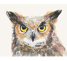 Great Horned Owl Watercolor Photographic Print