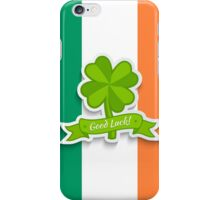Clover on Irish flag for Patrick day iPhone Case/Skin