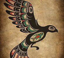 Red and Green Haida Spirit Flying Bird by Jeff Bartels