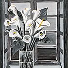"""Lilies in Window"" original signed acrylic painting on canvas by Michael Arnold"