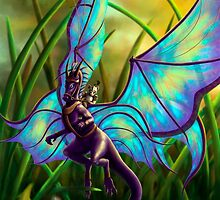 We Ride at Dawn - Mouse Warrior Riding Fairy Dragon by ToastWeasel