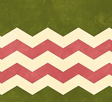 Olive Green, Rose and Cream Chevron by katmun