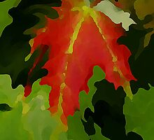 Red Leaf Paint by Adrena87