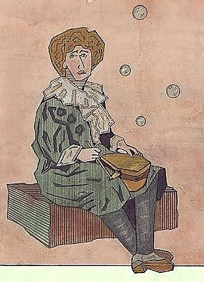 046 - VARIATION ON JOHN MILLAIS' PAINTING OF BUBBLES - WATERCOLOUR & INK - DAVE EDWARDS - 1988 by BLYTHART